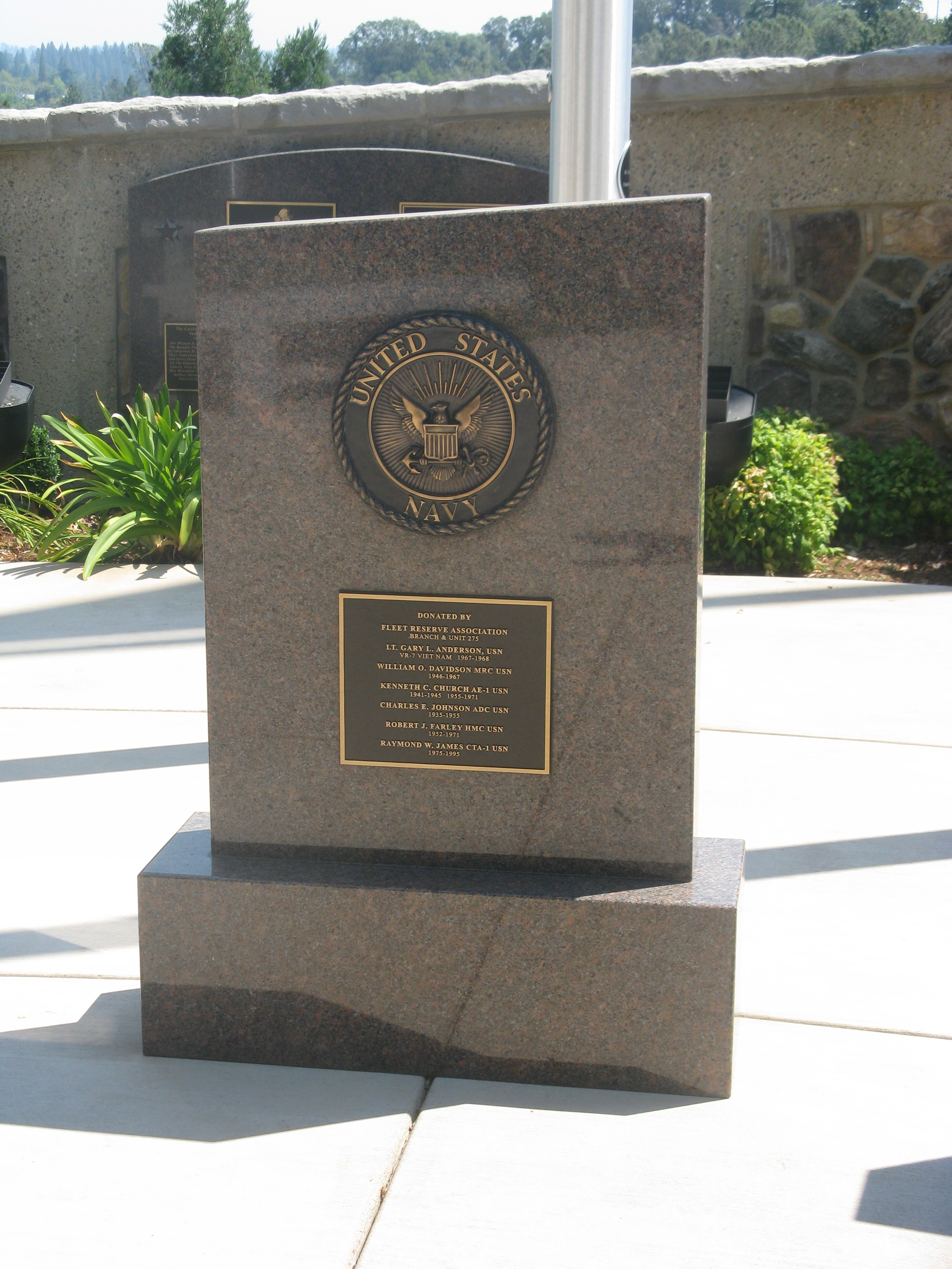 Plaque Placed at US Navy Flag Pole