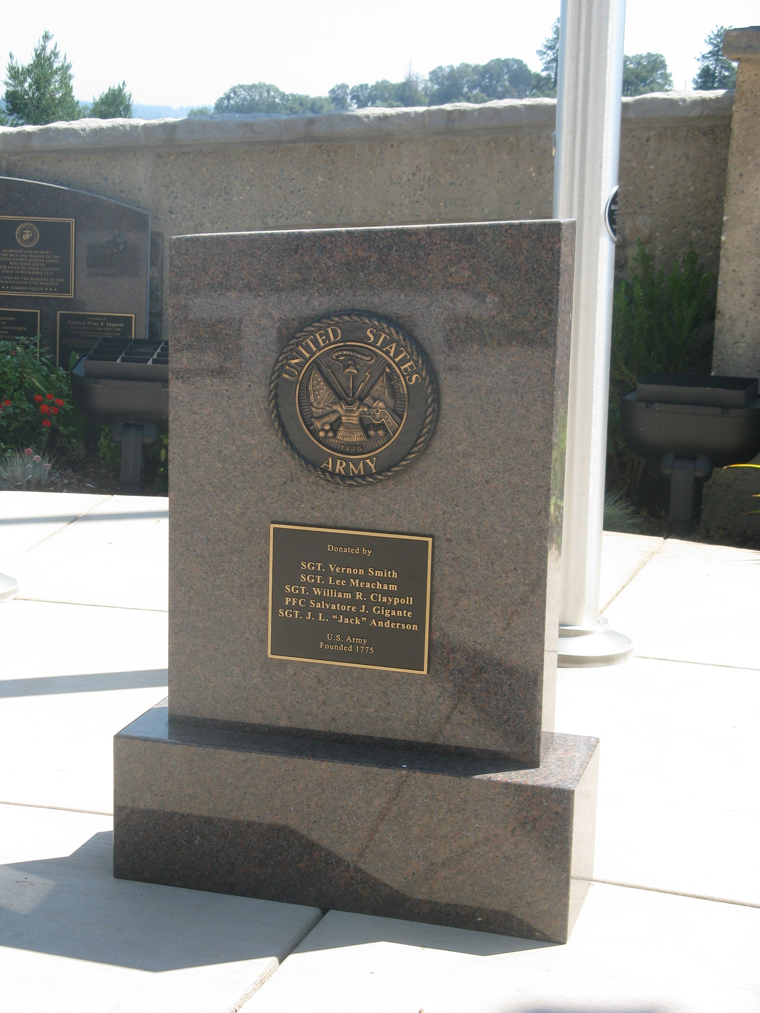 Plaque Placed at US Army Flag Pole