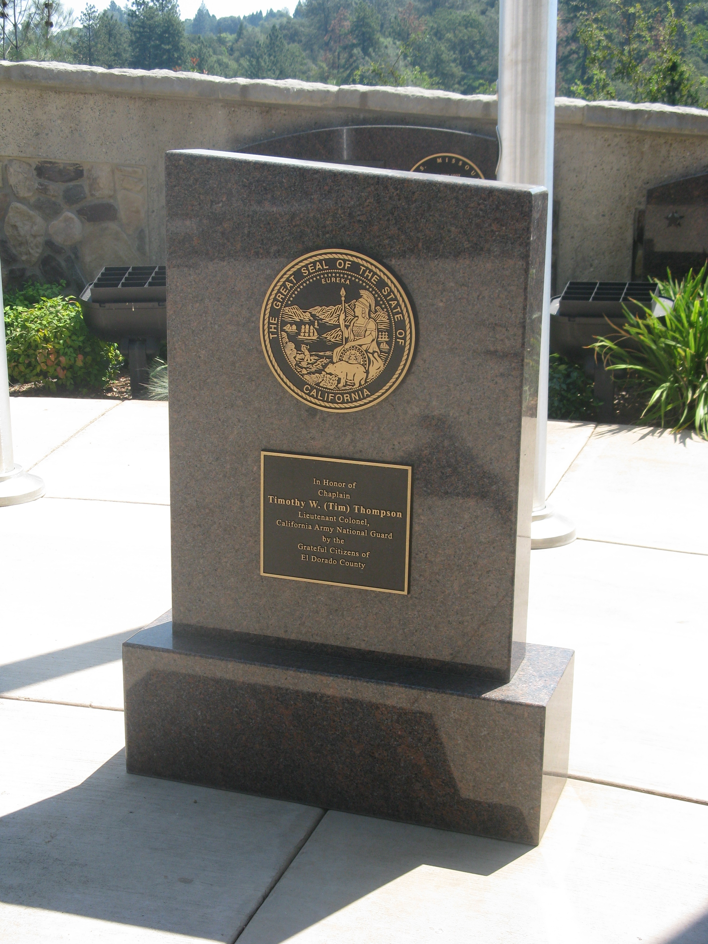 Plaque Placed at California National Guard Flag Pole