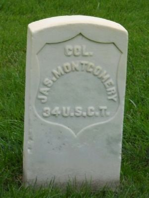 Headstone of Colonel James Montgomery @ Mound City Soldier's Lot image. Click for full size.