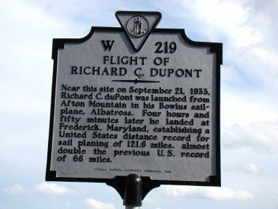 Flight of Richard C. duPont Marker image. Click for full size.