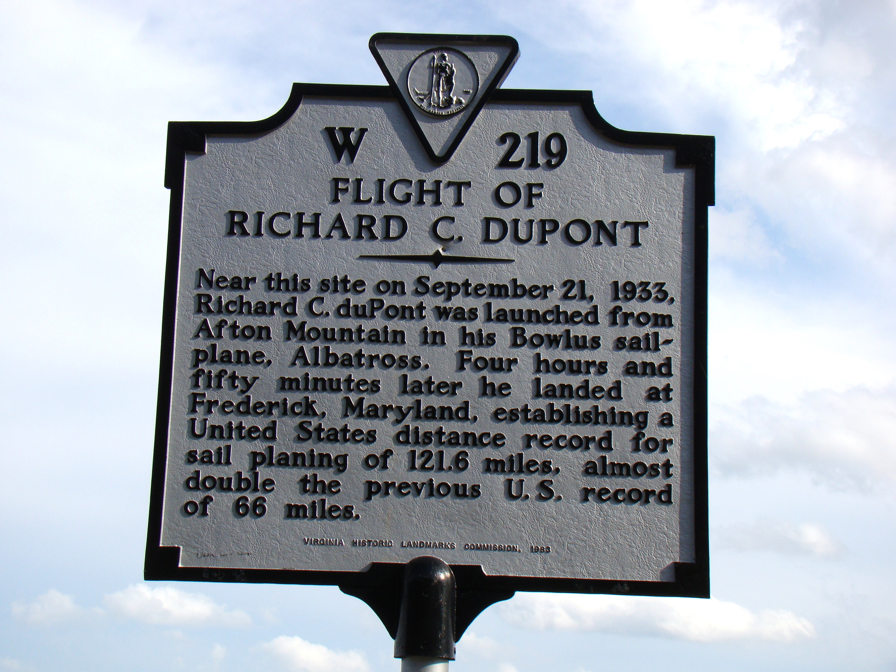 Flight of Richard C. duPont Marker