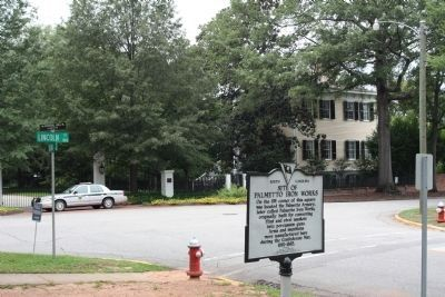 Site of Palmetto Iron Works Marker, looking west - Lincoln St. entrance to Governor's Mansion image. Click for full size.