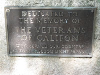 Califon Veterans Monument image. Click for full size.