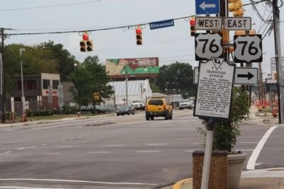Elmwood Avenue Marker, looking north at Main Street intersection image. Click for full size.