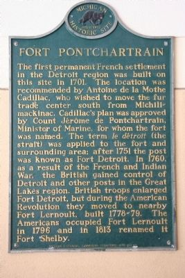 Fort Pontchartrain Marker image. Click for full size.