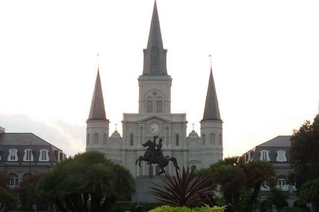 Cathedral of St. Louis in the New Orleans French Quarter [Vieux Carré], viewed from Jackson Square image. Click for full size.