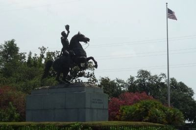 Equestrian statue of Maj. Gen. Andrew Jackson by artist Clark Mills in Jackson Square image. Click for full size.