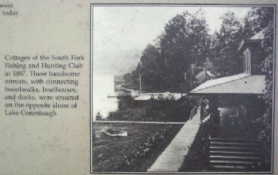 Cottages of the South Fork Fishing and Hunting Club in 1887. image. Click for full size.