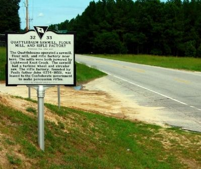 Quattlebaum Sawmill, Flour Mill, and Rifle Factory Marker image. Click for full size.