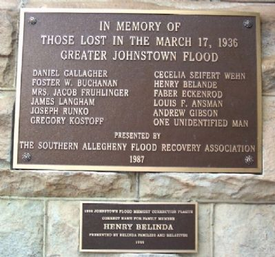 1936 Greater Johnstown Flood Victims Marker image. Click for full size.