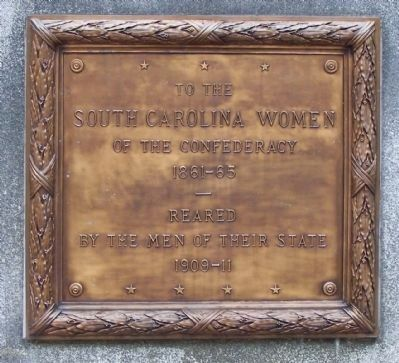 Monument to South Carolina Women of the Confederacy Marker, north face image. Click for full size.