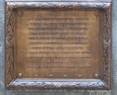 Monument to South Carolina Women of the Confederacy Marker, south face image. Click for full size.