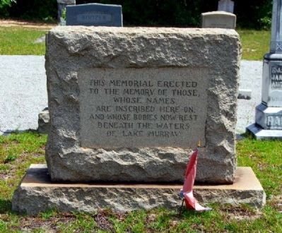 Lake Murray Burials Monument -<br>Front image. Click for full size.