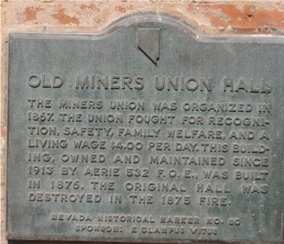 Old Miners Union Hall Marker image. Click for full size.