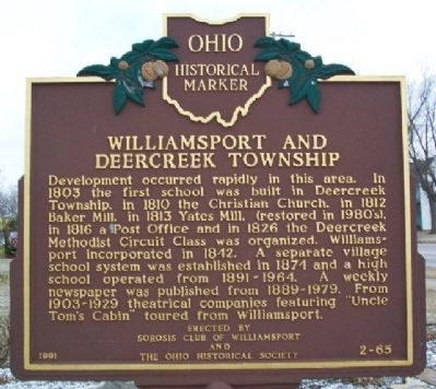 Williamsport and Deercreek Township Marker image. Click for full size.