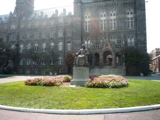 Bishop Carroll statue - in front of Healy Hall, Georgetown University image. Click for full size.
