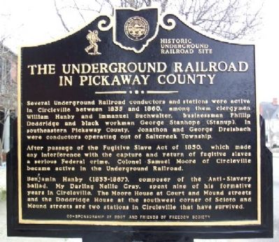 The Underground Railroad in Pickaway County Marker image. Click for full size.