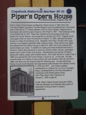 Piper's Opera House Marker image. Click for full size.