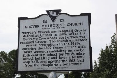 Grover Methodist Church Marker, reverse side image. Click for full size.