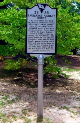 Laurence Corley House Marker - Front image. Click for full size.