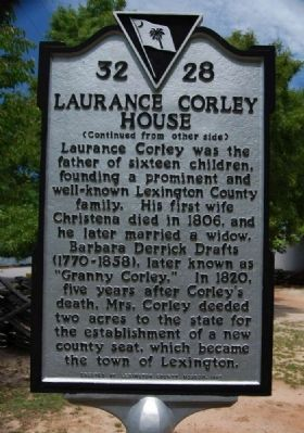 Laurence Corley House Marker - Reverse image. Click for full size.