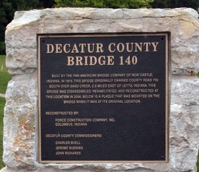 Decatur County (Indiana) Bridge 140 Marker image. Click for full size.