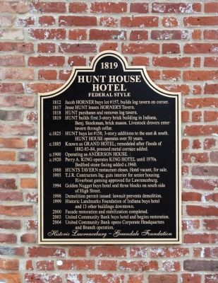 Hunt House Hotel Marker image. Click for full size.