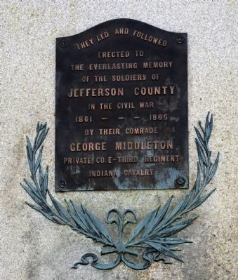 Jefferson County ( Indiana ) Civil War Memorial Marker image. Click for full size.