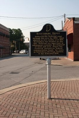 Wide View Side B - - Scottsburg Depot Marker image. Click for full size.