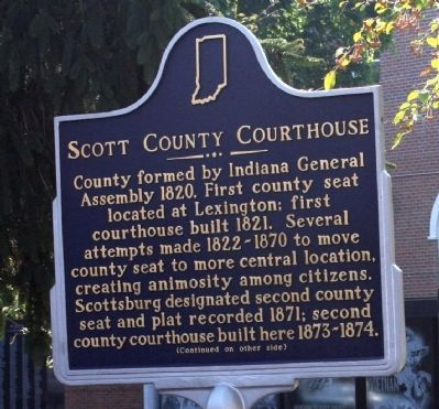 Side A - - Scott County Courthouse Marker image. Click for full size.