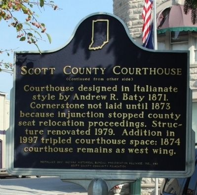 Side B - - Scott County Courthouse Marker image. Click for full size.