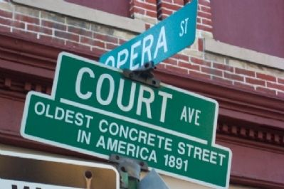 Oldest Concrete Street in America Street Sign image. Click for full size.