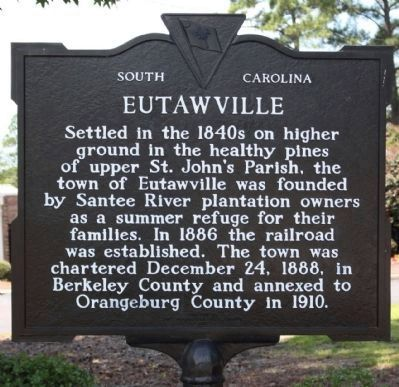 Eutawville Marker, front side image. Click for full size.