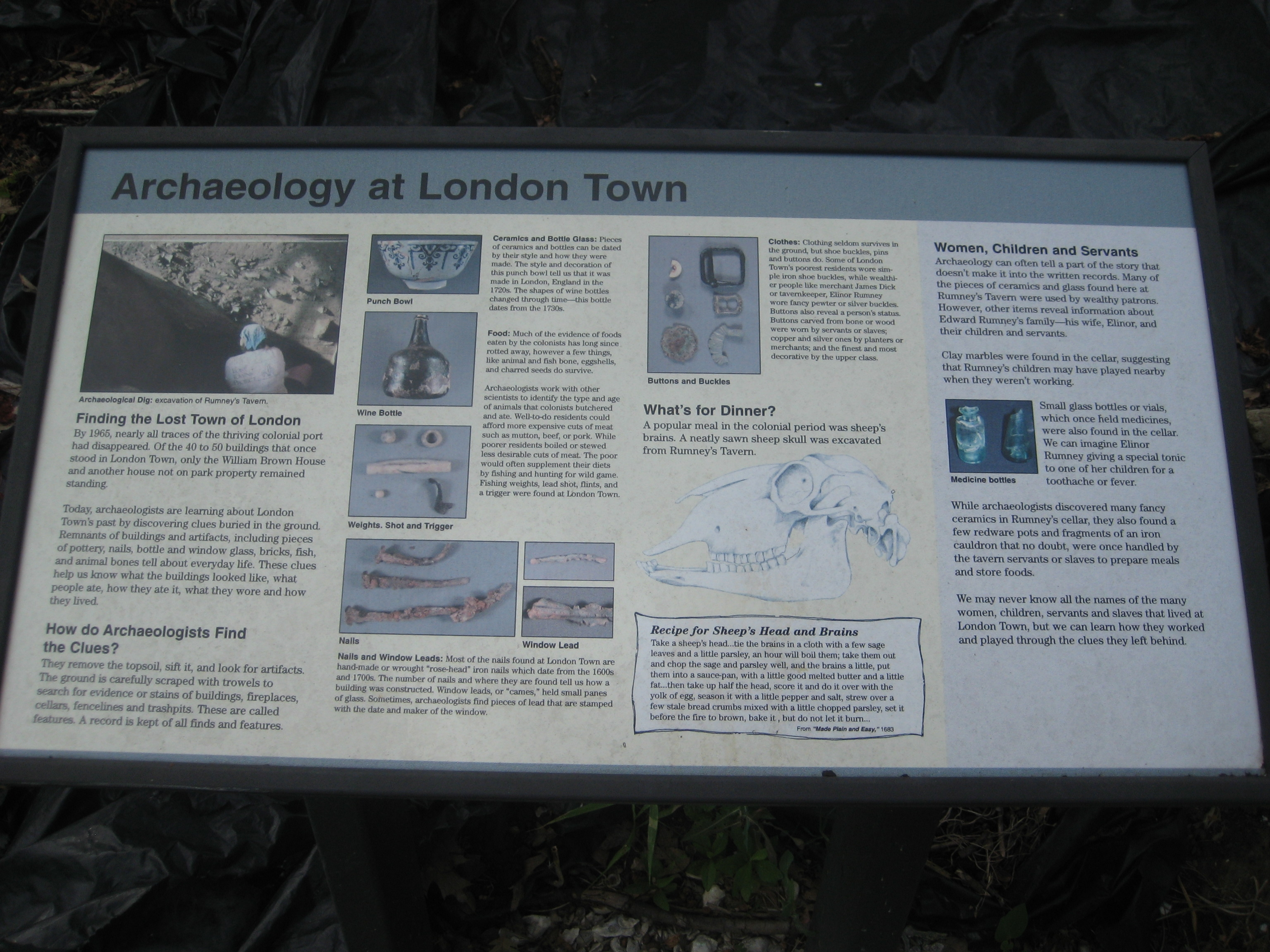Archaeology at London Town Marker
