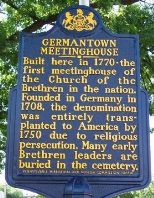 Germantown Meetinghouse Marker image. Click for full size.