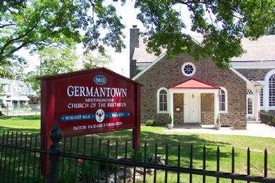 Germantown Meetinghouse and Sign image. Click for full size.