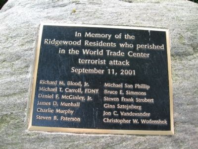 Ridgewood 9-11 Memorial Marker image. Click for full size.