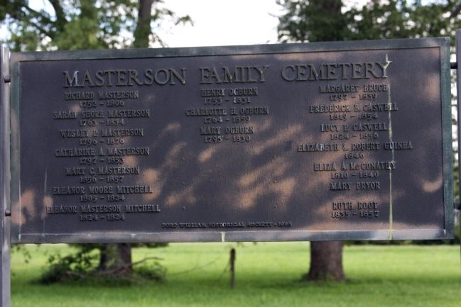 The Masterson Family Cemetery - - Marker image. Click for full size.