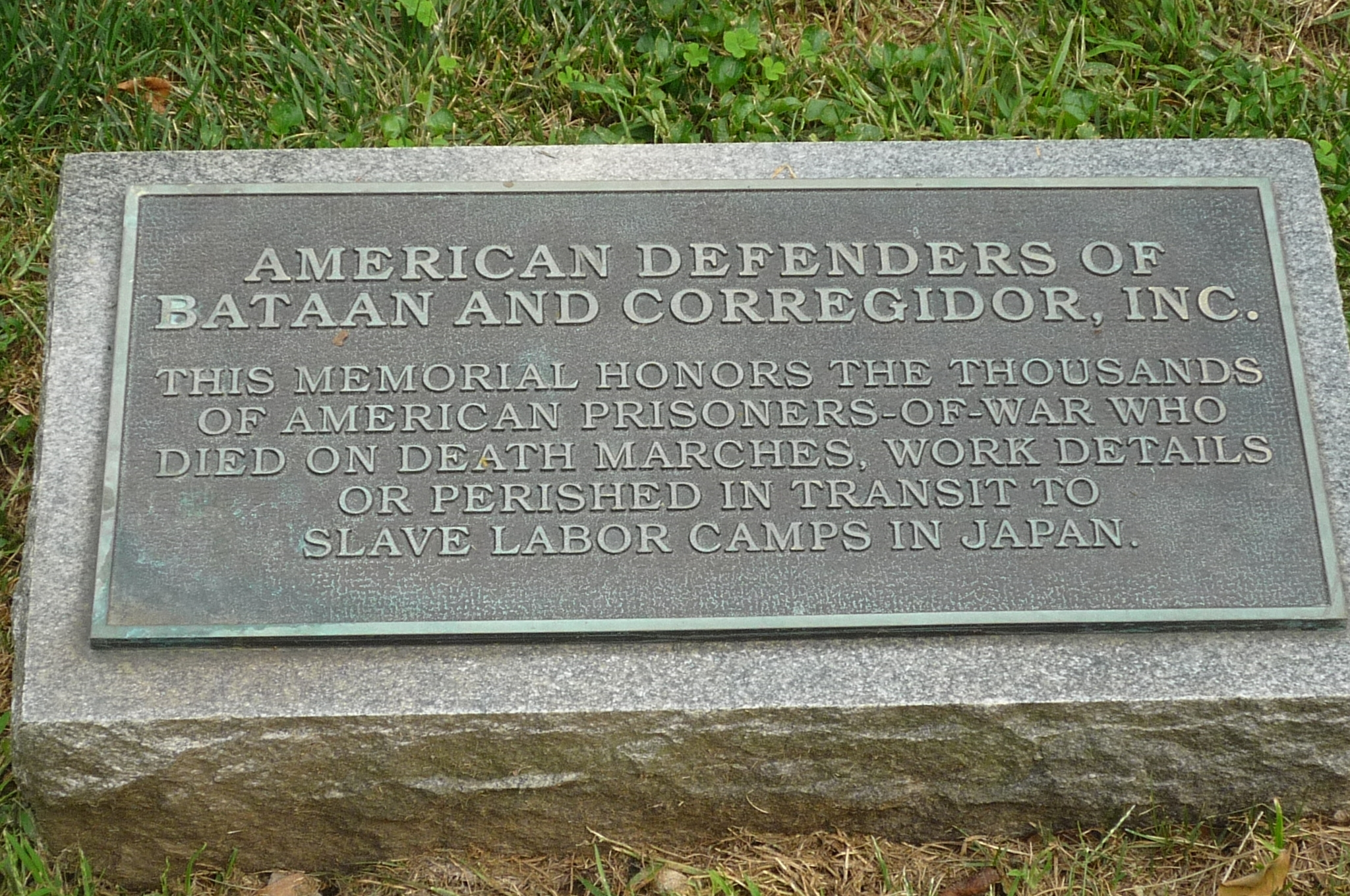 American Defenders of Bataan and Corregidor, Inc. Marker