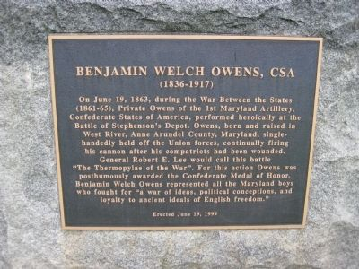Benjamin Welch Owens, CSA Marker image. Click for full size.