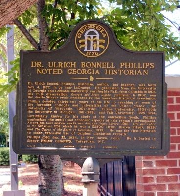 Dr. Ulrich Bonnell Phillips Marker image. Click for full size.