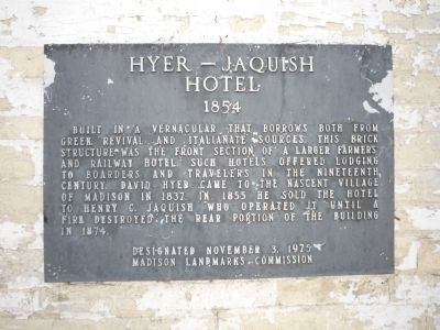 Hyer - Jaquish Hotel Marker image. Click for full size.