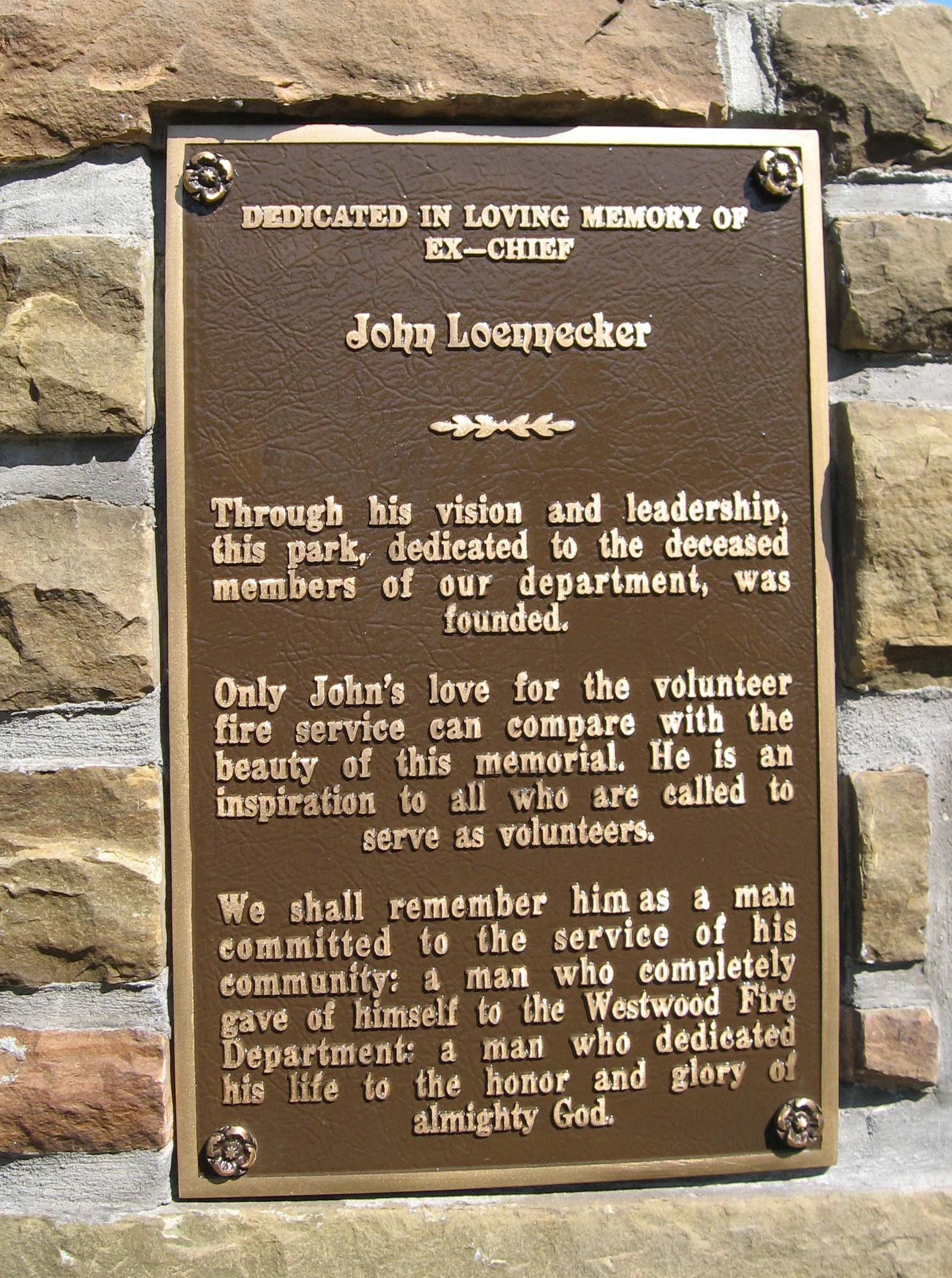Westwood Fire Department Memorial Marker