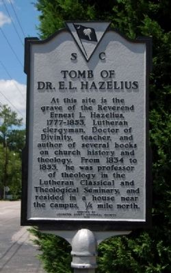 Tomb of Dr. E.L. Hazelius Marker image. Click for full size.