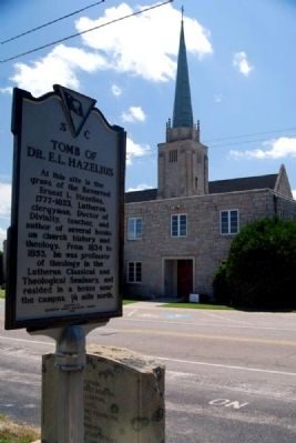 Tomb of Dr. E.L. Hazelius Marker -<br>St. Stephen&#39;s Lutheran Church in Background image. Click for full size.