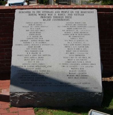 Lexington County Veterans Monument -<br>Right Inscription image. Click for full size.