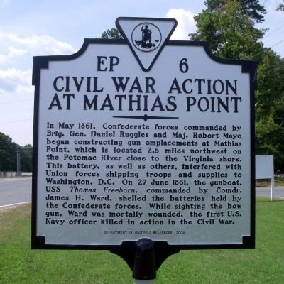 Civil War Action At Mathias Point Marker image. Click for full size.