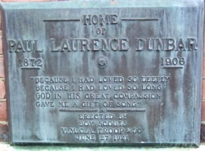 Home of Paul Laurence Dunbar 1872-1906 Marker image. Click for full size.
