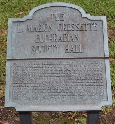 The L. Marion Gressette Euphradian Society Hall Marker image. Click for full size.